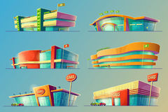 Set of vector cartoon illustrations, various supermarket buildings, shops, large malls, stores. Set of vector cartoon illustrations, various supermarket vector illustration