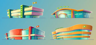 Set of vector cartoon illustrations, various supermarket buildings, shops, large malls, stores Royalty Free Stock Photo
