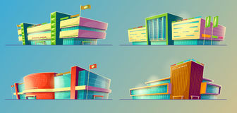 Set of vector cartoon illustrations, various supermarket buildings, shops, large malls, stores Stock Images