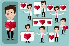 Set of vector cartoon man in love, with hearts. Stock Images