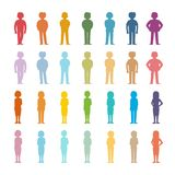 Set of vector cartoon people colored outline shapes.  vector illustration