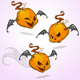 Set of vector cartoon pumpkin heads expressions with bat wings. Vector Halloween illustration  Royalty Free Stock Image