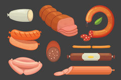 Set of vector cartoon sausage. Bacon, sliced Salami and Smoked Boiled. Isolated fresh Delicatessen icons. Grilled Stock Photos