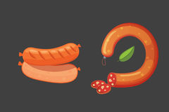 Set of vector cartoon sausage. Bacon, sliced Salami and Smoked Boiled. Isolated fresh Delicatessen icons. Grilled. Set of vector cartoon sausage. Bacon, sliced Stock Photos