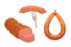 Set of vector cartoon sausage. Bacon, sliced Salami and Smoked Boiled. Isolated fresh Delicatessen icons. Grilled Stock Images