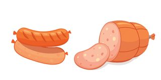 Set of vector cartoon sausage. Bacon, sliced Salami and Smoked Boiled. Isolated fresh Delicatessen icons. Grilled Stock Image