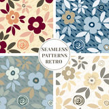 Set of vector cartoon seamless pattern with hand drawn flowers. Royalty Free Stock Photography
