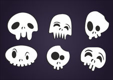 Set of vector cartoon skulls Stock Photography
