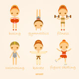 Set of vector cartoon sports illustrations. Set of vector cartoon sports girls Stock Images