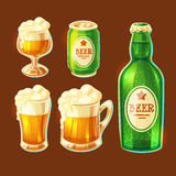 Set of vector cartoon various containers for bottling and storing beer Royalty Free Stock Images