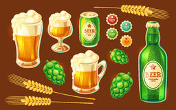 Set of vector cartoon various containers for bottling and storing beer Stock Images