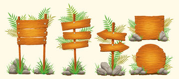 Set of vector cartoon wooden signs of various forms stock illustration