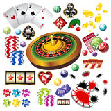 The set of vector casino elements or icons Stock Images