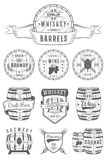 Set of Vector Cask Alcohol Emblems Stock Images