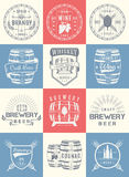 Set of Vector Cask Alcohol Emblems. Set of wooden casks with alcohol drinks emblems and labels. Set of vintage logo, badge, template with wooden barrels for beer Royalty Free Stock Photography