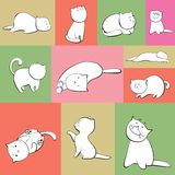 Set of vector cats in boxes. Set of simple vector cats characters in color boxes Royalty Free Stock Photography