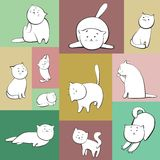 Set of vector cats in boxes. Set of simple vector cats characters in color boxes Stock Photo