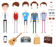 Set of vector character with different hair styles, objects and outfits Stock Photos