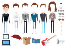 Set of vector character with different hair styles, objects and outfits Royalty Free Stock Photography