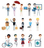 Set of vector characters in different poses Royalty Free Stock Images