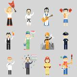 Set of vector characters in different professions. Including martial arts  musicians  waiter  painter  construction worker  policeman  doctor  professor Stock Image