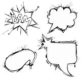 Set of vector chat ink grunge bubbles Royalty Free Stock Photo