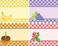 Set of vector checkered backgrounds frames of different colors. Stock Photography