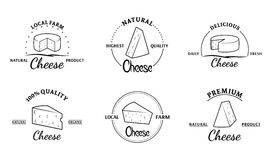 Set of Vector Cheese Labels and Design Elements Stock Photo