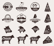 Set of Vector Cheese Labels, Icons and Design Elements Royalty Free Stock Image