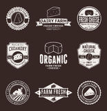 Set of Vector Cheese Labels, Icons and Design Elements Stock Photo