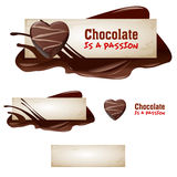 Set of vector chocolate banners. Set of vector sweet vintage chocolate banners, headers Stock Photography