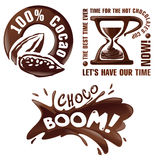 Set vector chocolate signs and labels. Royalty Free Stock Photo
