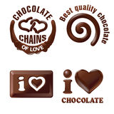 Set vector chocolate signs and labels. Stock Photography