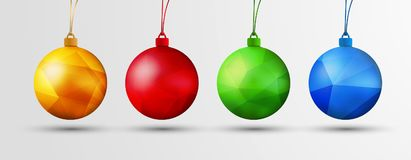 Set of vector Christmas balls with polygonal abstract texture. Stock Photography
