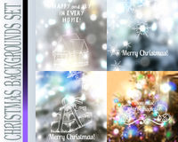 Set of vector Christmas blurred backgrounds with lights snowflak. Collection of vector Christmas blurred backgrounds with lights snowflakes and other decorations Stock Photography