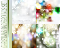 Set of vector Christmas blurred backgrounds with lights snowflak Stock Photography