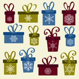 Set of Vector Christmas Boxes Royalty Free Stock Photography
