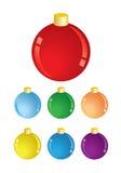 Set of vector christmas decorations - balls  Royalty Free Stock Photo