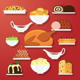Holiday dinner dishes. Set of vector Christmas food in flat style isolated on red background. Christmas cuisine or dishes. Perfect for New Year and Christmas Royalty Free Stock Image