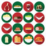 Holiday dinner icons. Set of vector Christmas food icons in flat style. Christmas cuisine or dishes. Perfect for New Year and Christmas greeting card, invitation Stock Photography