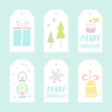 Set of 6 vector christmas gift tags Stock Images