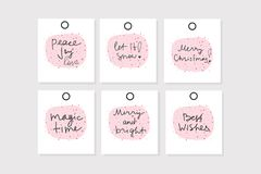 Set of 6 vector Christmas gift tags with phrases royalty free illustration
