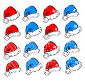 Set of vector Christmas hats Royalty Free Stock Photos