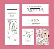 Set of vector Christmas, New year congratulation card designs. Scandinavian style illustration. Simple cute hand made xmas card collection. Contour icon and vector illustration