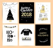 Set of vector Christmas, New year congratulation card designs. Scandinavian style illustration. Simple cute hand made xmas card collection. Contour icon and royalty free illustration