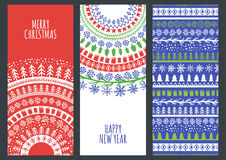 Set of vector Christmas and New Year greeting cards with hand dr Stock Images