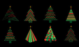 Set of vector christmas trees Royalty Free Stock Photos