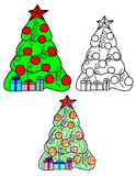 A set of vector Christmas trees. Three drawings with decorated Christmas tree and gifts on holiday Royalty Free Stock Photography