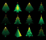 Set of vector christmas treesset Royalty Free Stock Image