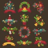 Set of vector christmas wreaths. Stock Image